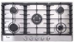 i-Cook 5 Burners Gas Built-In Hob, Stainless Steel, 90 cm - BH5090S-8-IS