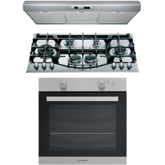 Ariston Built-In Set Of Gas Hob, 6 Burners- PHN961TSIX, Gas Oven With Grill, 75 Liters- GA3 124 IX A1 And  Visor Hood, 90 CM- SL19.1PIX