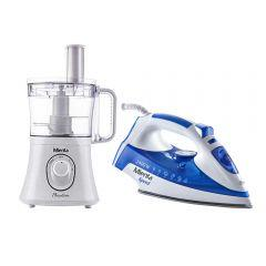 Set of Mienta Food Processor 800 Watt, with Steam Iron 2400 Watt