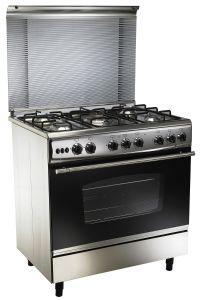 UnionTech Freestanding Gas Cooker, 5 Burners, Stainless Steel, 80 cm - C6080GC447N8H7DF