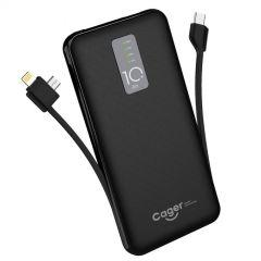 Cager Power Bank 10000 mAh With Built-In 2 Cables, 3 USB Ports, Black- P10H