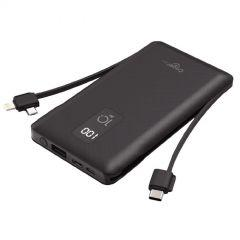 Cager Power Bank 10000 mAh With Built-In 2 Cables, 3 USB Ports, Black- T100