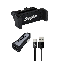 Energizer Set Of USB Cable Type C And, Car Charger 3.4A And,  Mobile Car Holder, Black, CKITB2CC23