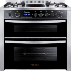 Premium  Double Chef Gas And Electric Cooker, 5 Burners, Stainless Steel/Black- PRM6090SS-1GC-511-IDSP-DV-F