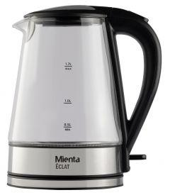 Mienta Electric Glass Kettle, 1.7 Liters, Silver/Black - EK201320A