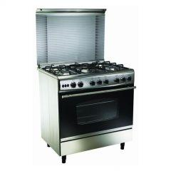 UnionTech Freestanding Gas Cooker, 5 Burners, Stainless Steel - C6090SS-DC-255-F-L