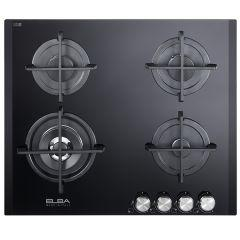 Elba Gas Built-In Hob, 4 Burners, Black-ELIO 65-445 CG