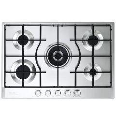 Elba Elio Lite Gas Built-In Hob, 5 Burners, Stainless Steel- ELIO 75-545 L