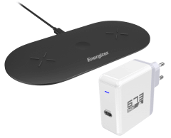 Energizer Wireless Charging Pad, 30W - Black with Wall Charger, 45W - White