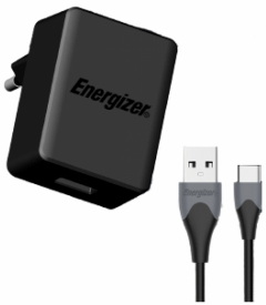 Energizer Ultimate Wall Charger With USB-C Cable, 18W - Black