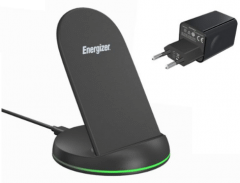 Energizer Wireless Stand Charger, 15W, Black - WCP109BK with Wall Charger, 24W - Black