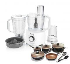Modex Food Processor, 1000 Watt, White, FP795 - with Ceramic Cookware Set, 11 pieces