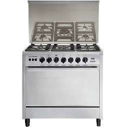 Universal Freestanding Gas Cooker, 5 Burners, Stainless Steel, 90 cm - 6905PR1