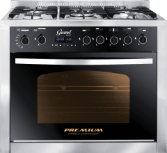 Premium  Grand Chef Gas Cooker, 5 Burners, Stainless Steel/Black- PRM6090SS-1GC-511-IDSP-GO