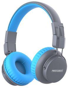 Media Tech Bluetooth Headphone With Microphone, Grey/Blue - MT-H77