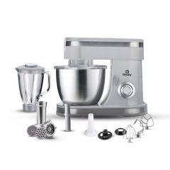 Grouhy Stand Mixer with Grinder and Blender 1400 Watt, Grey - GKM1431GR