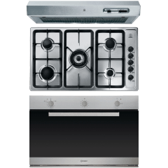 Indesit Built-in Set Of  Gas Hob 5 Burners- PIM950ASTGHEX, Oven 81 Liters- IGM 63 IX, Hood 90CM- ISLK 96 LS X