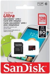 SanDisk Ultra microSDXC UHS-I Card with Adapter, 128GB - SDSQUNC-128G