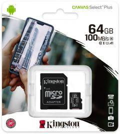 Kingston Canvas Select Plus microSD Card with SD Adapter, 64GB - SDCS2/64GB