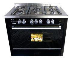 UnionTech Freestanding i-Cook Pro Gas Cooker, 5 Burners, Black, 90 cm - C6090SB-1BC-511-IDSP