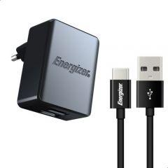 Energizer Wall Charger with USB-C Cable, 3.4 A, 2 Ports, Black - ACA2CEUUC23