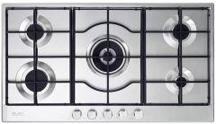 Elba Gas Built-In Hob, 5 Burners, Silver- Elio 95-545 Lite