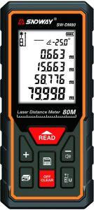 Sndway Laser Distance Measure, 80 Meters, Black/Orange- SW-DM80