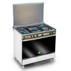 Kiriazi Gas Cooker 5 Burners, Silver- 8900s1