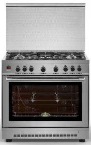 Kiriazi Freestanding Gas Tank Cooker, 5 Burners, Silver, 90cm - 90FC9 SMART