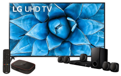 LG 70 Inch 4K UHD Smart LED TV - 70UN7380PVC with DVD Home Theater and OSN Yalla Box Subscription and Skyworth HD Decoder