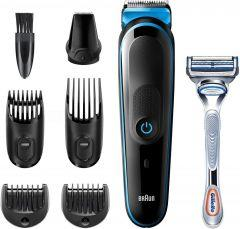 Braun All in One Hair Trimmer 3 with Gillette Razor for Men, Black/Blue - MGK3242