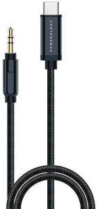 Powerology USB Type-C To 3.5 mm AUX Cable, 1.2 Meter - Grey