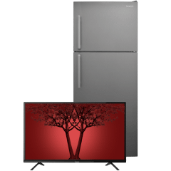 Panasonic Freestanding Refrigerator, 445 Liters, Silver - NR-BC532VSEG With Panasonic 40Inch Full HD TV - TH-40F312M