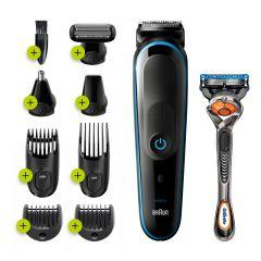 Braun All in One Hair Trimmer with Gillette Fusion5 ProGlide Razor for Men, Black/Blue - MGK5280