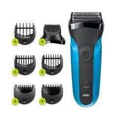 Braun Series 3 Wet and Dry Electric Shaver, Black/Blue - 310BT