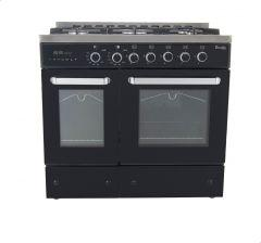 Premium Double Chef Gas Cooker, 5 Burners, Stainless Steel/Black- PRM6090SB-1GC-511-IDSP-DH