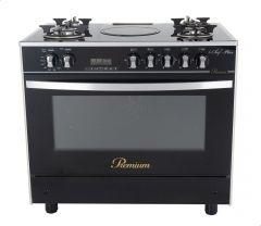 Premium I Chef Plus Gas And Electric Cooker, 5 Burners, Stainless Steel/Black- PRM6090GS-AC-383-IDSH-S-F