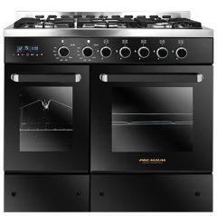 Premium Double Chef Gas Cooker, 5 Burners, Stainless Steel / Black- PRM6090SB-1BC-511-IDSP-DH
