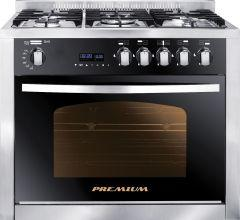 Premium Gas Cooker, 5 Burners, Stainless Steel Black- PRM6090SS-1GC-511-IDSP-GO-2W