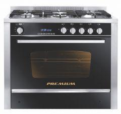 Premium Gas Cooker, 5 Burners, Stainless Steel Black- PRM6090SS-2GC-511-IDSP-2W