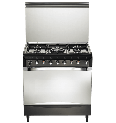 Universal Diamond 5 Burners Stainless Steel Cooker, Black