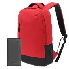 Riversong PB30 Power Bank, 10000mAh, 2 Ports, Black With ICONZ Laptop Backpack - Red
