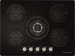 Ecomatic Crystal Gas Built-In Hob, 5 Burners, Black- S707ALC