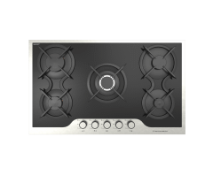Ecomatic Crystal Gas Built-In Hob, 5 Burners, Black- S917IDC