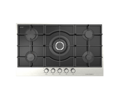 Ecomatic Crystal Gas Built-In Hob, 5 Burners, Black- S927IQC