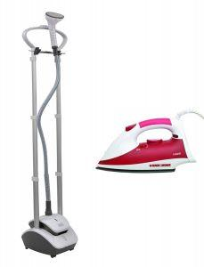 Set of Black + Decker Garment Steamer 2000 Watt, with Steam Iron 1450 Watt