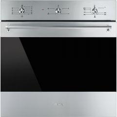 Smeg Classica Gas Built-In Oven With Grill, 60 Liters, Stainless Steel-SF6341GVX