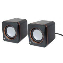 Manhattan Stereo Sound And Compact Wired Speaker, Black- 161435
