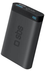 SBS Pocket Power Bank, 10000mAh, 3 Ports - Black