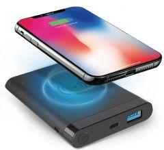 SBS Wireless Power Bank, 5000mAh, 2 Ports - Black